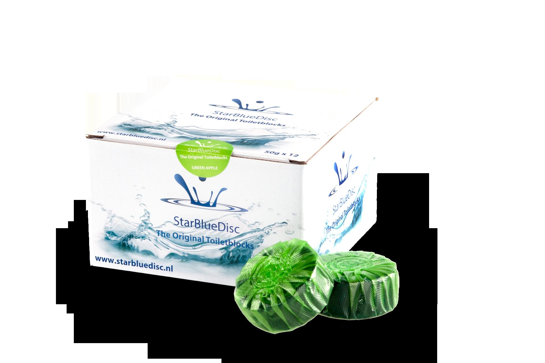 Halfjaar verpakking Toiletblokjes Groen.<br><h5>Art.nr: 127.185.514<br>Kleur: Groen.<br>Inhoud: 12 toiletblokjes per verpakking.</h5>