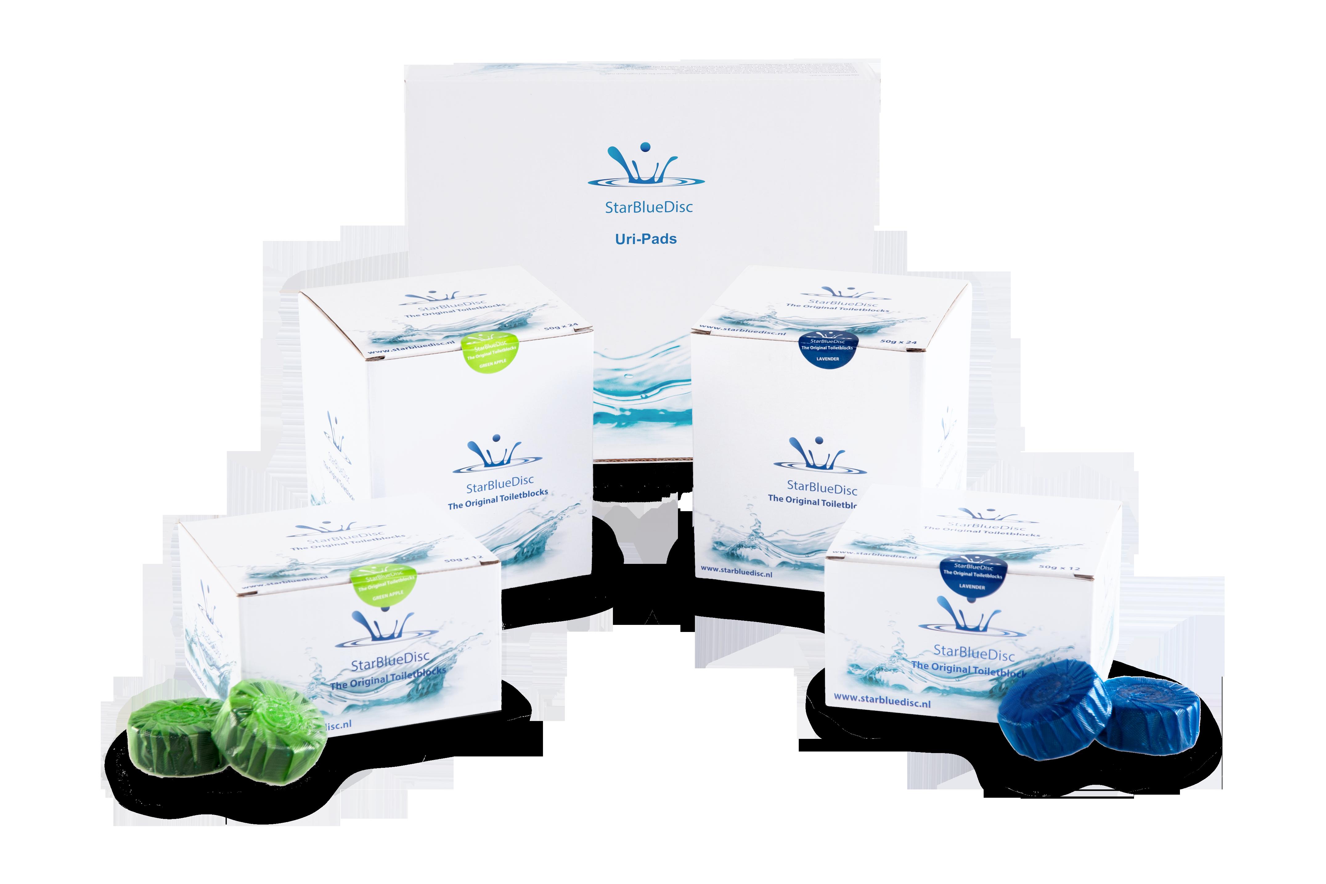Jaarverpakking Toiletblokjes <BR>Blauw.<BR><br><h5>Art.nr: 242.122.150<br>Kleur: Blauw.<br>Inhoud: 24 toiletblokjes per verpakking.</h5>