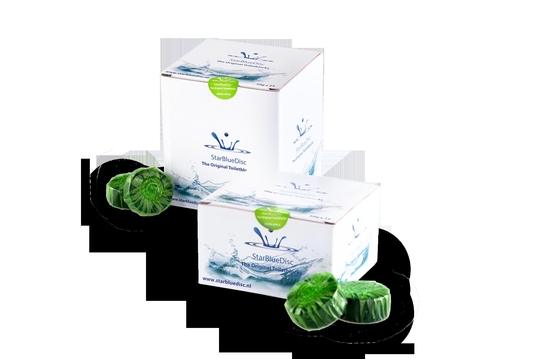 Halfjaar verpakking Toiletblokjes Groen